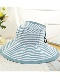 Trendy Blue Stripe Pattern Decorated Beach Hat