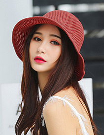 Trendy Red Knitted Design Pure Color Sunscreen Hat