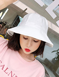 Fashion White Embroidered Letter Decorated Sunscreen Hat