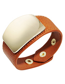 Elegant Orange Square Shape Decorated Width Bracelet