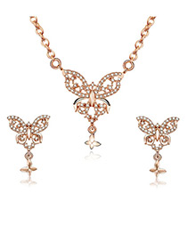 Fashion Gold Color Butterfly Shape Decorated Jewelry Sets