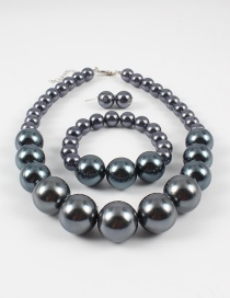 Elegant Gray Full Pearls Design Pure Color Jewelry Sets