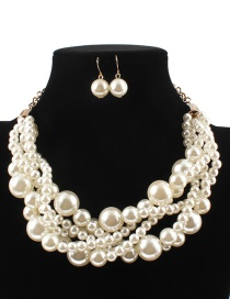 Elegant White Pearls Decorated Pure Color Jewelry Sets