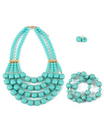 Elegant Pale Green Pure Color Design Multi-layer Jewelry Sets