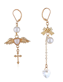 Fashion Gold Color Wing&bowknot Decorated Long Earrings