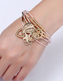 Fashion Gold Color Leaf&star Shape Pendant Decorated Bracelet