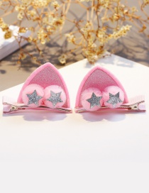 Lovely Pink Star&ears Shape Design Child Hair Clip(1pairs)