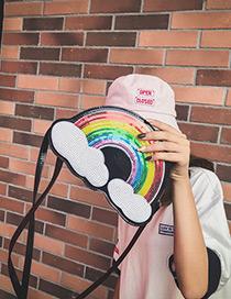 Lovely Black Rainbow Pattern Decorated Shoulder Bag