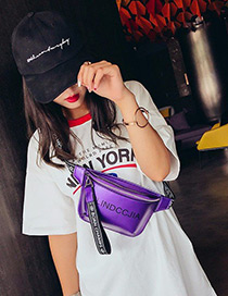 Fashion Purple Pure Color Decorated Hip-hop Bag