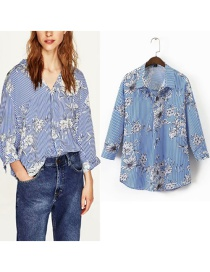 Fashion Blue Flowers Pattern Decorated Loose Shirt