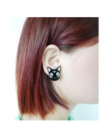 Fashion Black Cartoon Cat Shape Decorated Earrings