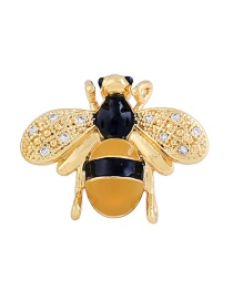 Fashion Yellow+black Bee Shape Decorated Brooch