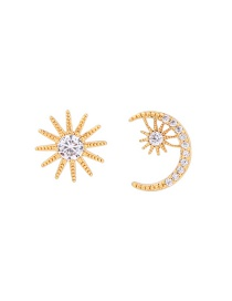Fashion Gold Color Moon&star Shape Decorated Earrings