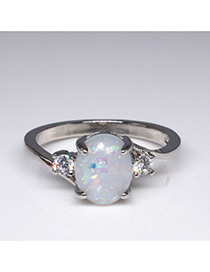 Fashion Silver Color Oval Shape Gemstone Decorated Ring