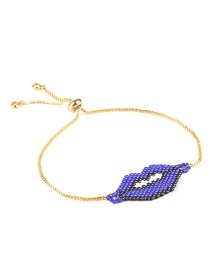 Fashion Sapphire Blue Beads Decorated Lip Shape Bracelet