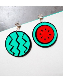 Fashion Green+red Watermelon Shape Design Asymmetric Earrings
