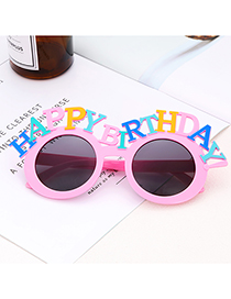 Fashion Pink Letter Shape Decorated Glasses