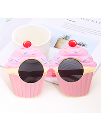 Fashion Pink Cake Shape Decorated Glasses