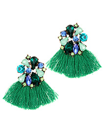 Fashion Green Geometric Shape Decorated Tassel Earrings