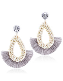 Fashion Gray Waterdrop Shape Decorated Tassel Earrings