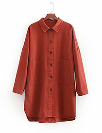 Fashion Red Pure Color Decorated Long Sleeves Shirt