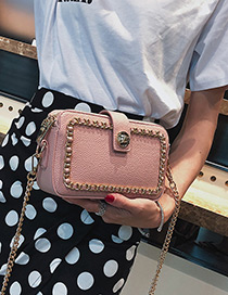 Fashion Pink Pure Color Decorated Bag