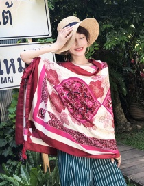 Fashion Claret Red Flower Pattern Decorated Scarf