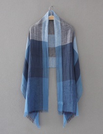 Fashion Blue Grids Pattern Decorated Scarf