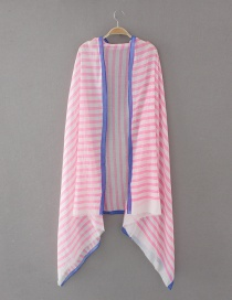 Fashion Pink Stripe Pattern Decorated Scarf