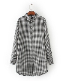 Fashion Balck+white Grids Pattern Decorated Shirt