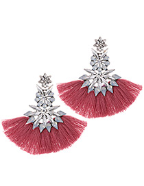 Fashion Plum Red+white Geometric Shape Decorated Tassel Earrings