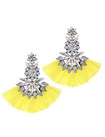 Fashion Light Yellow Geometric Shape Decorated Tassel Earrings