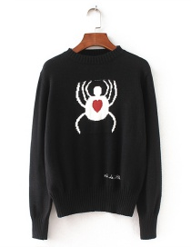 Fashion Black Spider Pattern Decorated Sweater