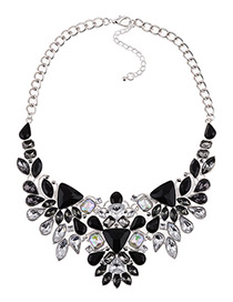 Fashion Black Full Diamond Decorated Necklace