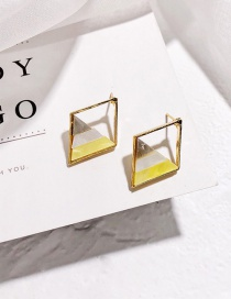 Fashion Gold Color Rhombus Shape Decorated Earrings