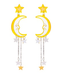 Fashion Yellow Moon Shape Decorated Tassel Earrings