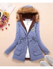 Fashion Light Blue Pure Color Decorated Coat