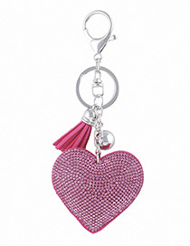 Fashion Plum Red Heart Shape Decorated Keychain