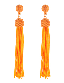 Fashion Orange Pure Color Decorated Tassel Earrings