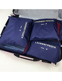Fashion Navy Pure Color Decorated Storage Bag(6pcs)