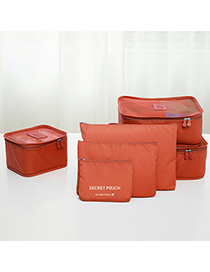 Fashion Orange Pure Color Decorated Storage Bag(6pcs)