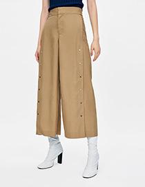 Fashion Khaki Pure Color Decorated Pants