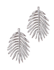 Fashion Silver Color Leaf Shape Design Earrings