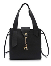 Fashion Black Deer Shape Decorated Handbag