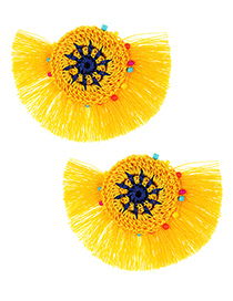 Fashion Yellow Sector Shape Decorated Tassel Earrings