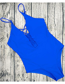 Sexy Blue V Neckline Design Pure Color Swimwear
