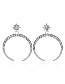 Fashion Silver Color Moon&star Shape Decorated Earrings