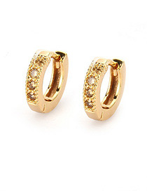 Fashion Champagne Round Shape Decorated Earrings