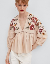 Fashion Pink V Neckline Design Flower Pattern Blouse