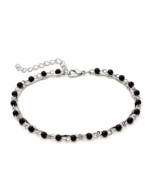 Simple Silver Color+black Bead Decorated Anklet